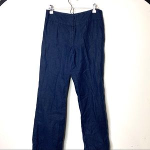 Eileen Fisher navy linen high waist straight leg 8